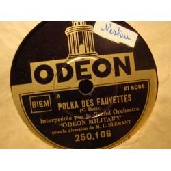 ODEON MILITARY/BLÉMANT marche grecque/polka des fauvettes 78T ODEON VG+