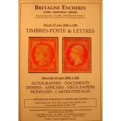 BRETAGNE ENCHÈRES timbres-poste et lettres - dessins/affiches/cartes postales Juin 2006++