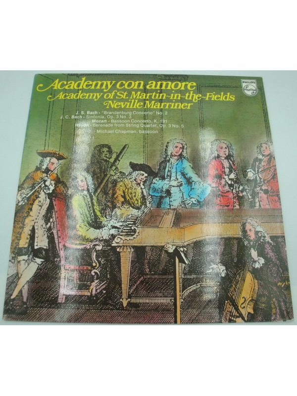 MARRINER/CHAPMAN/ACADEMY OF ST MARTIN IN THE FIELD academy con amore BACH/MOZART LP Philips
