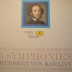 KARAJAN/BERLIN 5 symphonies BARTHOLDY coffret 4LP'S GRAMMOPHONE EX++